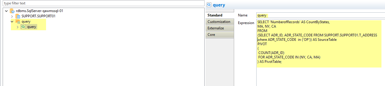 Query in metadata