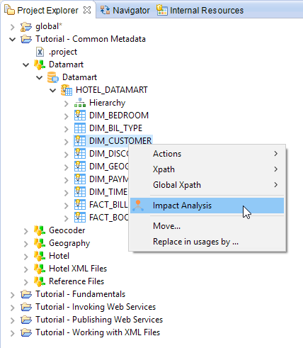 impactAnalysis menu