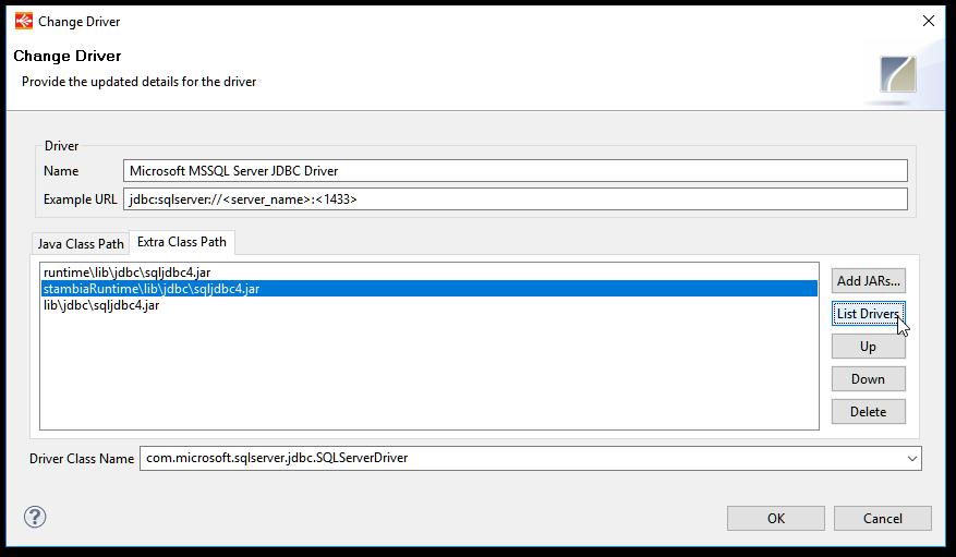 Configuring JDBC drivers