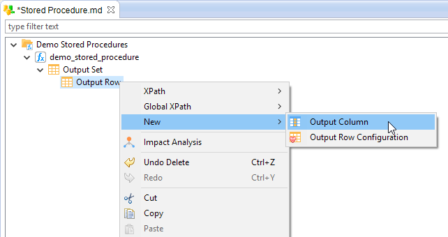 metadata output set output column